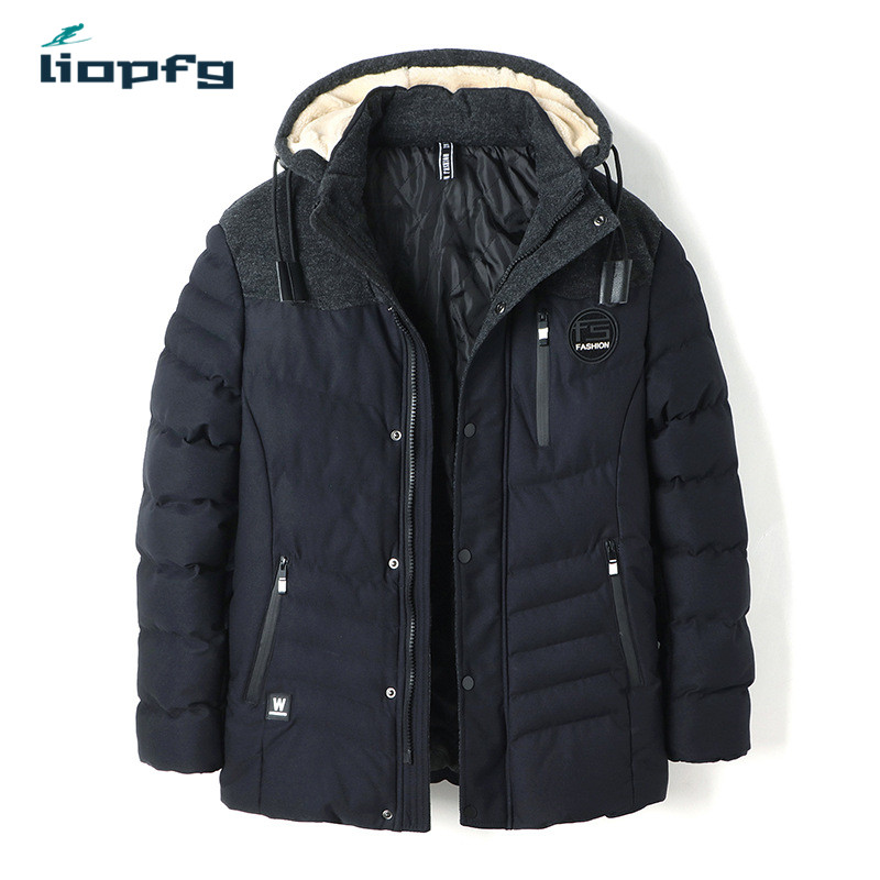 Brand Mens Winter Jacket Large Size Black Hooded Thickening Warm Mens Cotton Loose Casua ...
