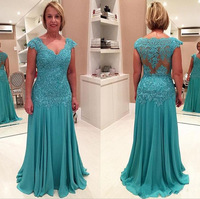 Gorgeous A Line V Neck Cap Sleeve Chiffon Lace Mother of the Bride Dresses Plus Size Appliques Formal Evening Dresses