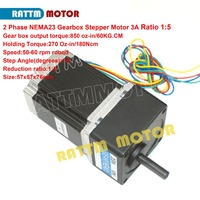 2 Phase Nema23 stepper Gearbox motor 1:5 Ratio 850oz.in 3.0A 4 wires for CNC Router Engraving machine 23HS8430G105