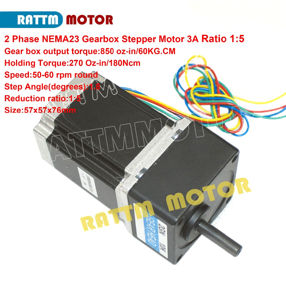 2 Phase Nema23 stepper Gearbox motor 1:5 Ratio 850oz.in 3.0A 4 wires for CNC Router Engraving machine 23HS8430G1052 Phase Nema23 stepper Gearbox motor 1:5 Ratio 850oz.in 3.0A 4 wires for CNC Router Engraving machine 23HS8430G105