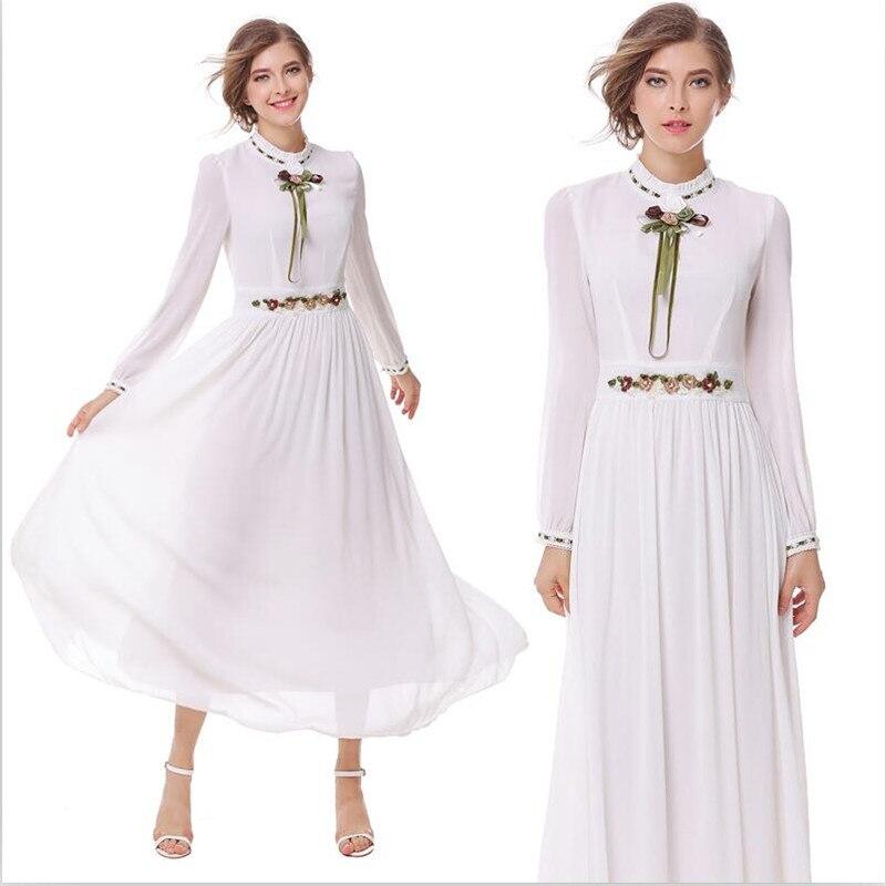 2019 women spring vintage chiffon long dress bow patchwork full lantern sleeves empire half turtleneck maxi dress