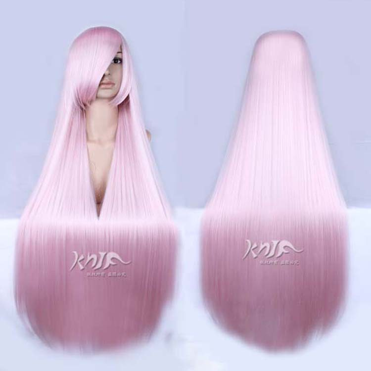 Good quality Hatsune Miku hair jewelry 330g 80cm synthetic pink synthetic hair accessories for Megurine Luka cosplay wigs long side bang mixed color tail adduction stunning cosplay lolita synthetic wig for women