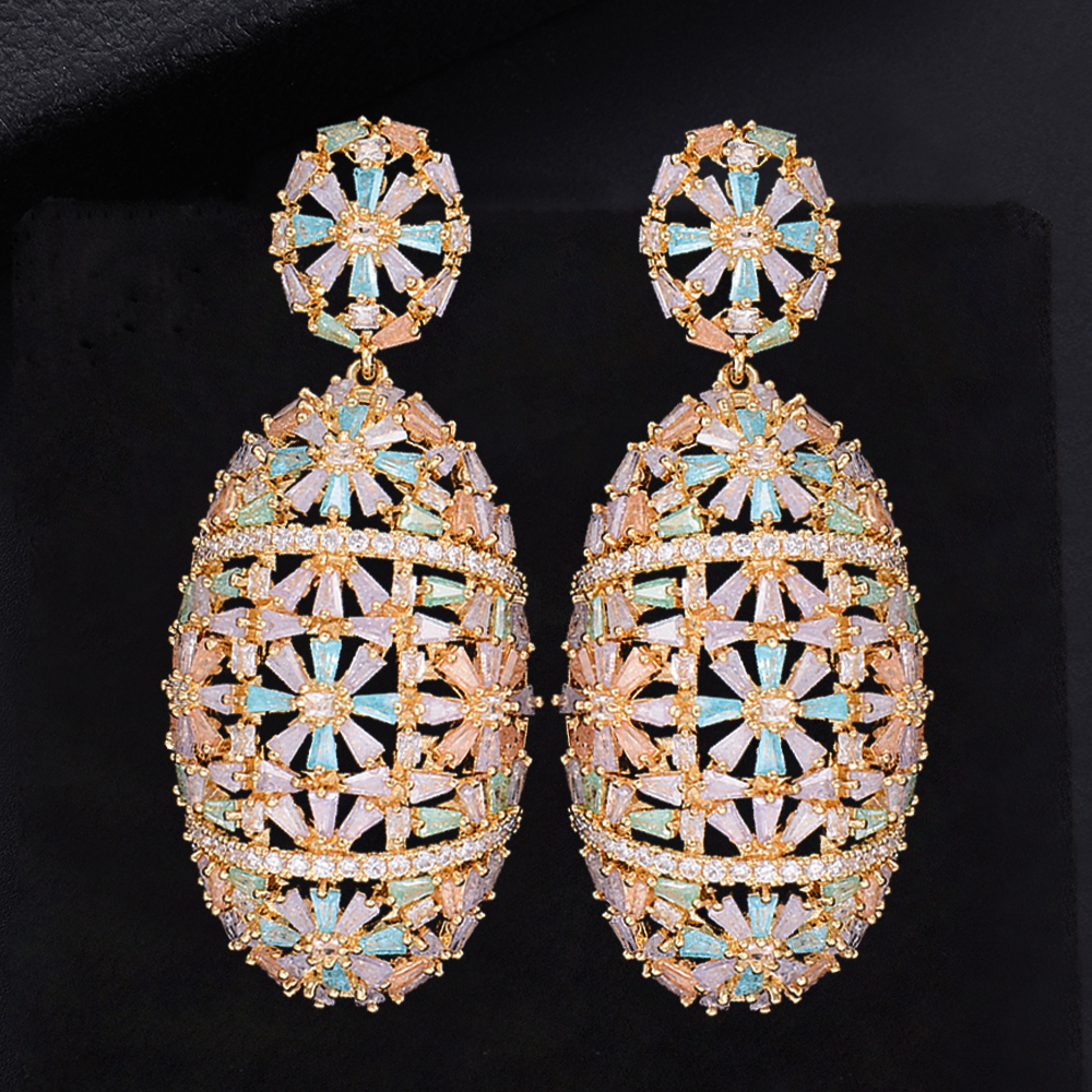 60mm Luxury Oval Geometry Flower Hollow Cubic Zirconia Engagement Party Drop Dangle Earrings Jewelry For Women