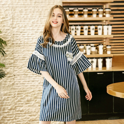 Women Fashion Lace Trim   Nightgown   Half Sleeve Round Neck   Sleepshirt   Striped Cat Print Sexy Sleepwear Dress Elegant Home Wear NEW