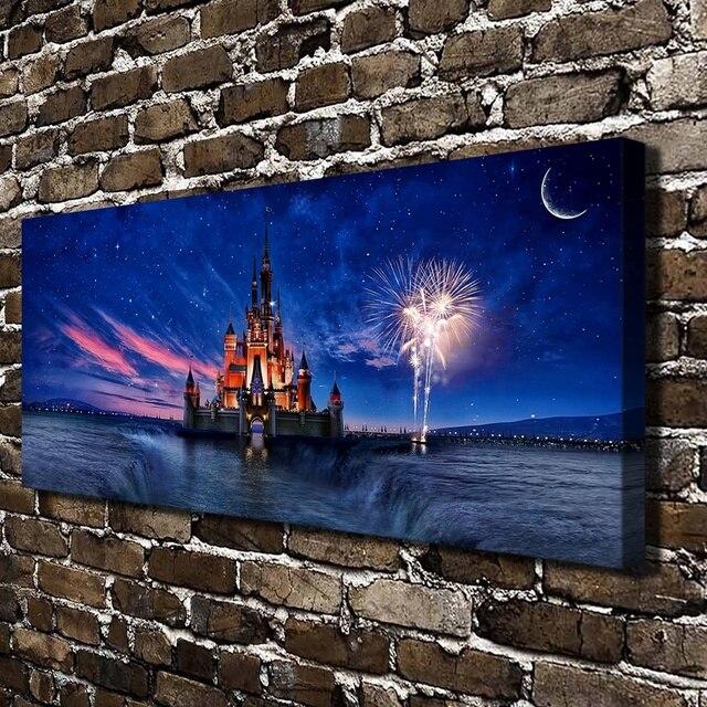 84ff08c836 H2067 California Land Castello Luce Paesaggio di Notte. HD Stampa Su Tela  della decorazione della