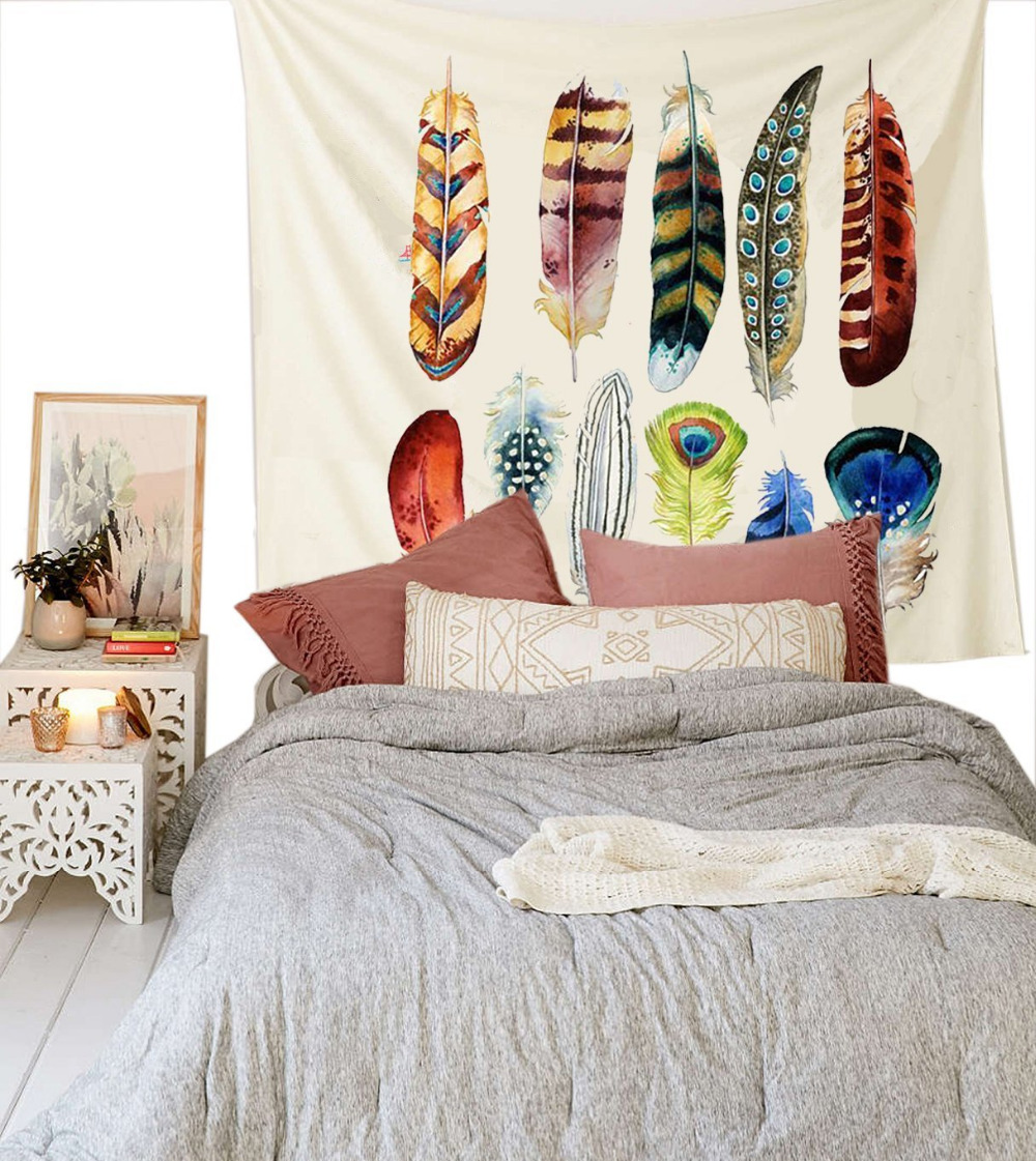 Cilected Hot Sale Colorful Feather Wall Hanging Tapestry Printed Simple Style Bedding Wall Hippie Tapestry 148x200cm Drop Ship