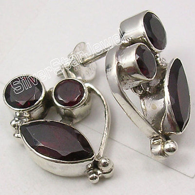 Silver Classic GARNET 3 STONE DESIGNER UNUSUAL Stud Earrings 1.9 CM