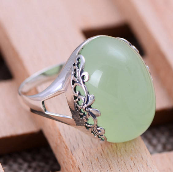 Jimei silver jewelry wholesale 925 sterling silver jewelry natural chalcedony fresh and beautiful female ring mail