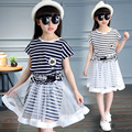Children's clothing 2016 summer fashion wind girl suit skirt short-sleeved T-shirt + casual cotton striped skirt 4 6 8 10 12