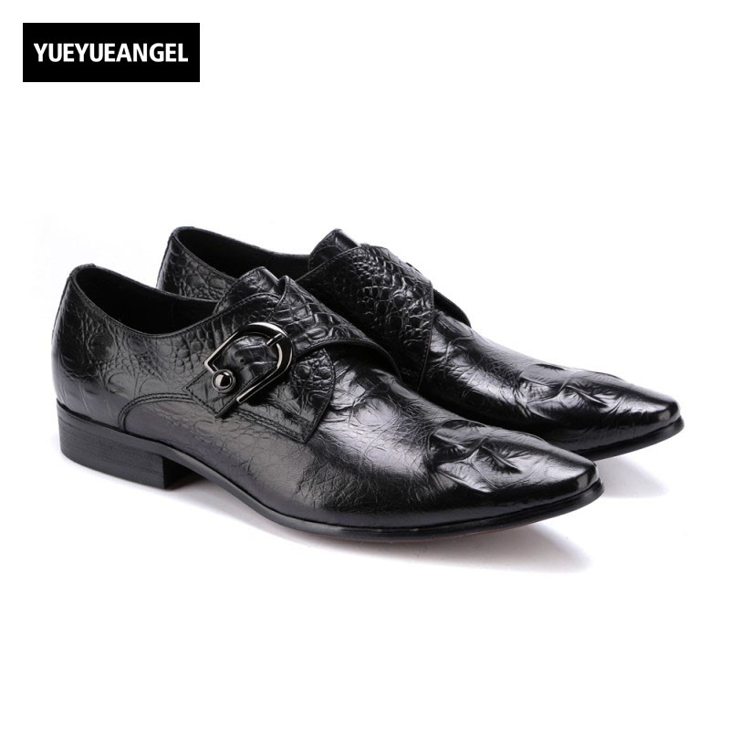 2017 New Fashion Buckle Mens Formal Shoes Male Dress Shoes Slip On Pointed Toe Hot Sale Genuine Leather Brand Top Quality Black top quality crocodile grain black oxfords mens dress shoes genuine leather business shoes mens formal wedding shoes