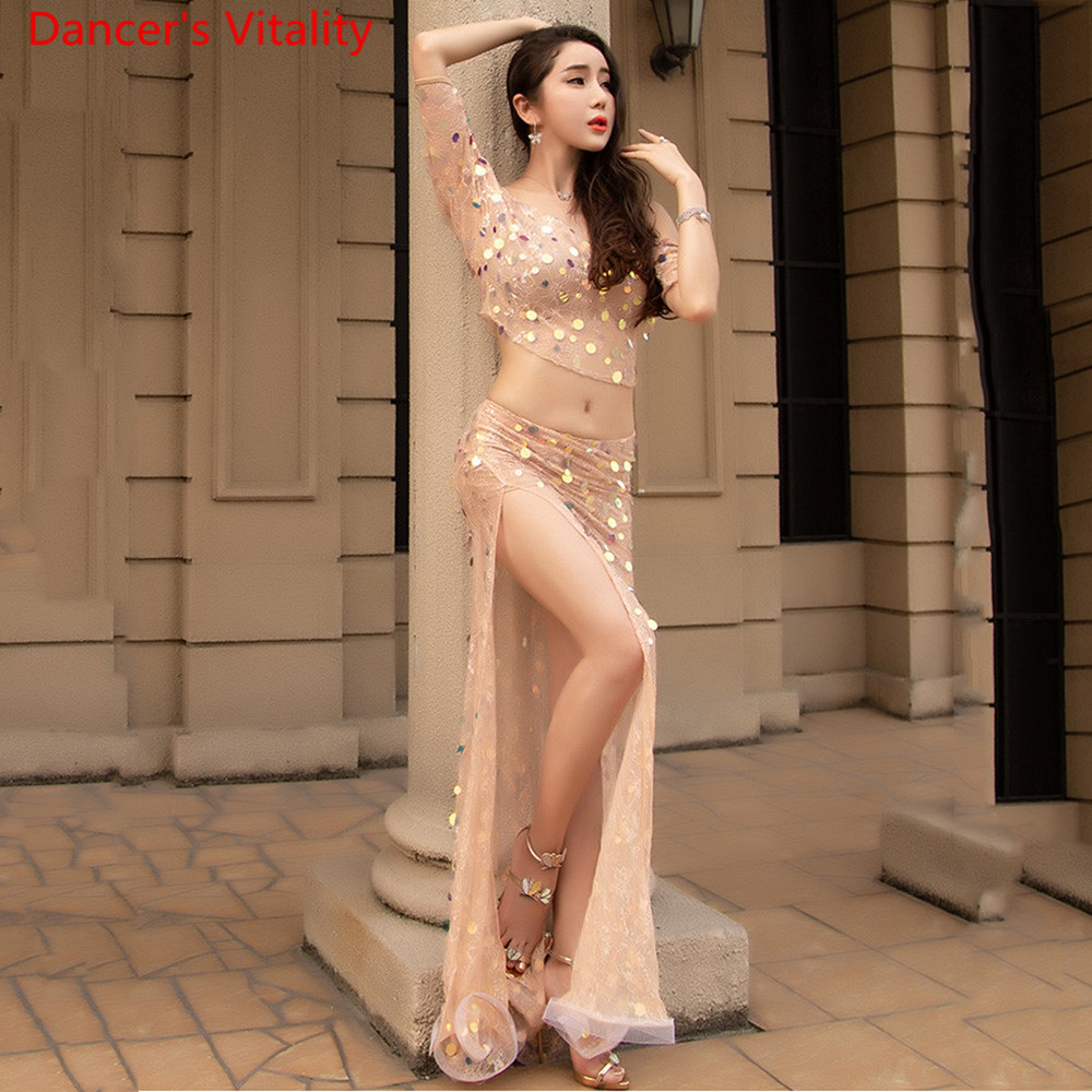 Women Belly Dance Summer Word Collar Sling Slit Dress Competition Set Top+Skirt 2cps Belly Dance Dance Set