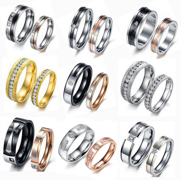 OPK JEWELRY 20pcs/lot Wholesale Couple Promise Ring Top Quality 316L Stainless Steel Crystal Engagement LOVER Ring Mixed Order