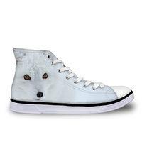 Customized White Fox Cool 3D Print Women High Top Vulcanize Shoes Casual High top Canvas Shoes for Lady Women's Sneakers Flats