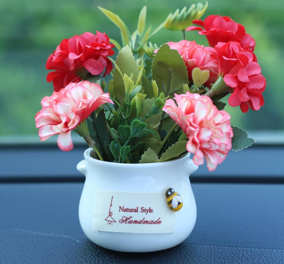 Car Simulation Plant Ornaments Flowerpot Chrysanthemum Rose Lavender Car Interior Decoration Accessories Living Room Bedroom Gif
