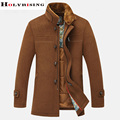 Winter sobretudo Men with  fur collar wool casaco coat woollen overcoat thinck jacket  windbreaker