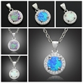 OPAL 2016 New Round Synthetic White Blue Pink Fire Opal Jewelry Women Opal Pendants Without the chain 7/8 inch OP338-339