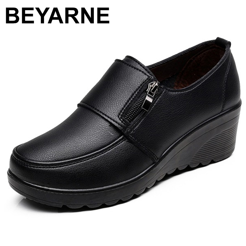BEYARNE2019Spring Autumn Women's Fashion Pumps Shoes Woman Genuine Leather Wedge Single Casual Shoes Mother High Heels ShoesE175