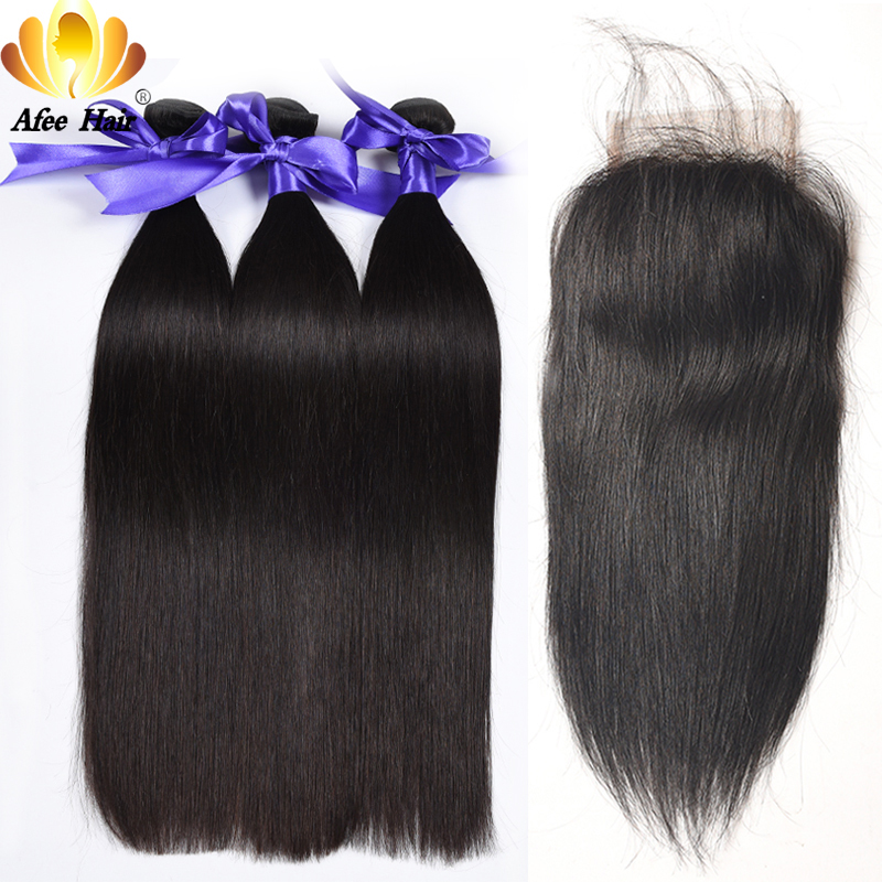 Aliafee Brazilian Straight Hair Buy 3 Pcs Can Get a Free Lace Closure Non Remy Brazilian Human Hair Weave Bundles With Closure