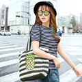 Summer one shoulder bag handbag hand-made woven grass green large capacity beach bag seaside holiday free shipping