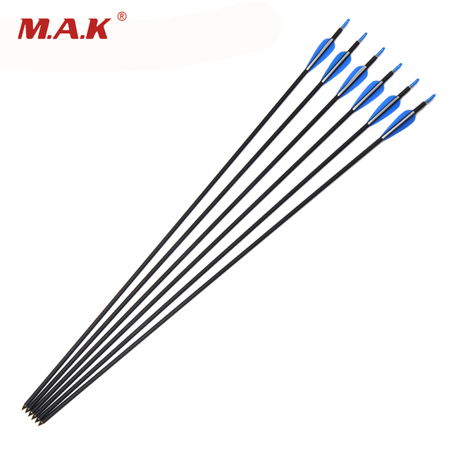 6/12/24pcs 30 Inch Archery Carbon Arrow OD7mm Spine 700 with 2 Blue 1 White Plastic Arrow Feather for Archery Hunting Shooting
