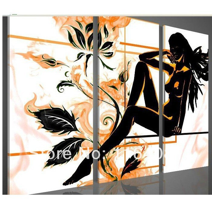 2014 Free shipping wall art Yellow flower <font><b>elegant</b></font> beauty <font><b>home</b></font> <font><b>decoration</b></font> Landscape oil paintings on canvas 3pcs/set on the back