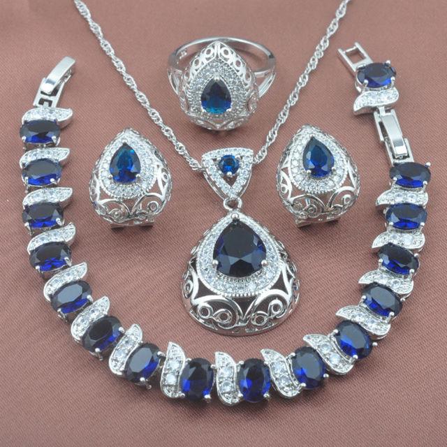 020b5d83fe45 Inusual azul zirconia 925 mujeres de plata esterlina Juegos de joyería  pulsera COLLAR COLGANTE Pendientes anillo