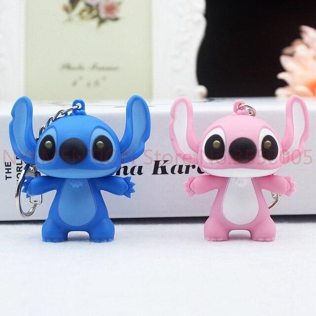 Boneca dos desenhos animados do Ponto de Voz Luz Keychain Brinquedo da Criança Animal Sinos Corda Bijuterias Anel Chave Do Carro de Couro Bolsa Chaveiro Presente 50 pcs
