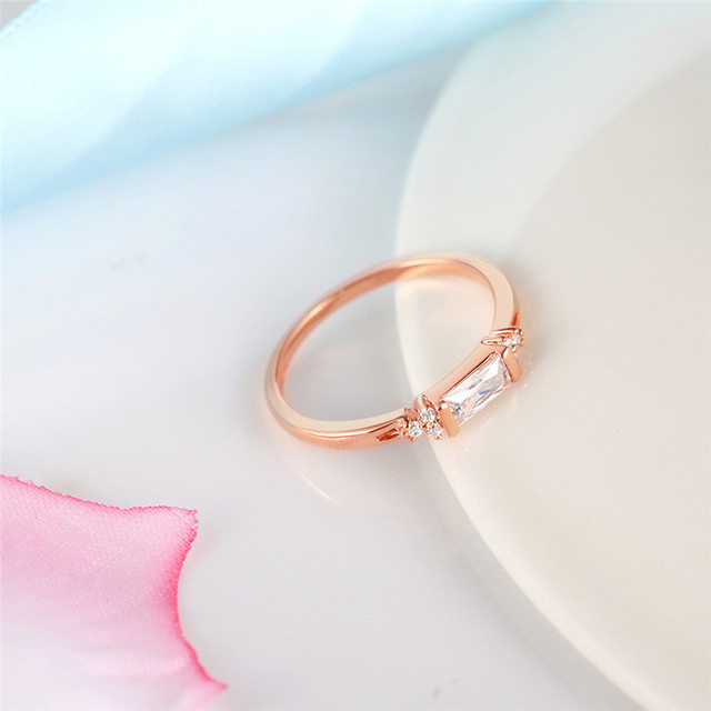 ROMAD Simple Germetric Finger Rings Rose Gold Color Women Engagement Rings for Party Birthday Ring in Copper anelli R4