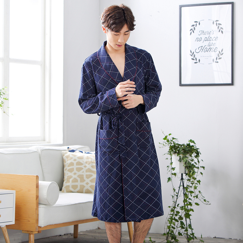 Autumn Men's Bath Robe Long-sleeve Kimono Pajamas For Men Bathrobe Male Spa Night Dress Gown Hombre Sleepwear