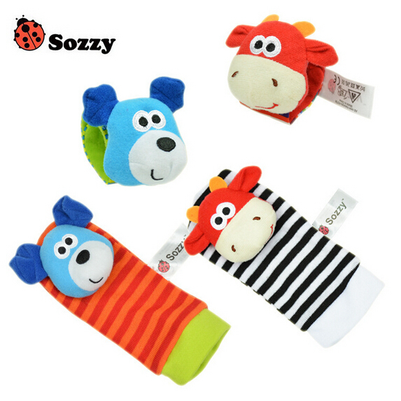 4pcs Pack Baby Socks Toy Animal Socks Bell Lovely Newborn Baby Gift Rattle Toys Free Shipping SZ02