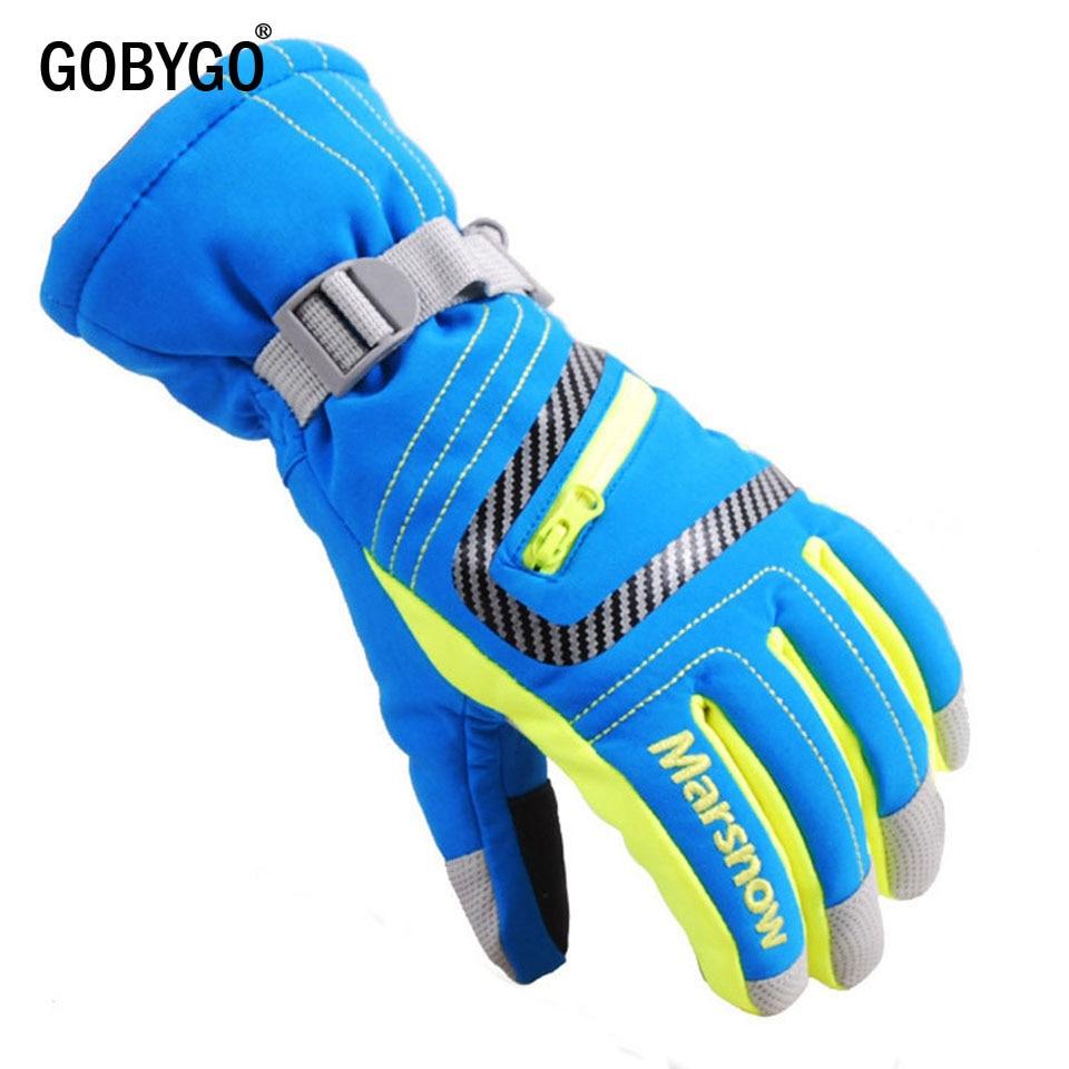 GOBYGO Men Women Children Ski Gloves Waterproof Warm Cycling Hockey Gloves Winter Sports Skiing Snowboard Gloves
