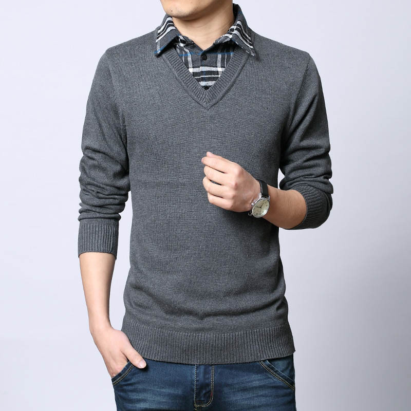 2015 New Mens Sweaters Fashion False Two Sweater Men Clothing Long