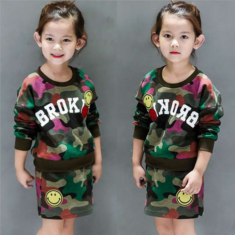 2017 Fashion Baby Girls Clothing set Cotton Camouflage Long sleeved Sweater skirt 2pcs Children sport Clothes