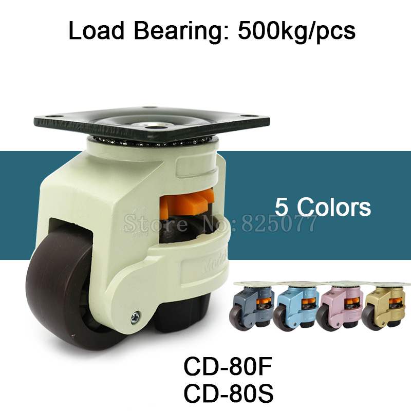 4PCS Levelling Adjusted Nylon Support Industrial Casters Wheels CD-80F/S 500kg for Machine Equipment Castors Wheels JF1598 4pcs cd 80f s level adjustment mc nylon wheel and aluminum pad leveling caster industrial casters load bearing 500kg pcs jf1516