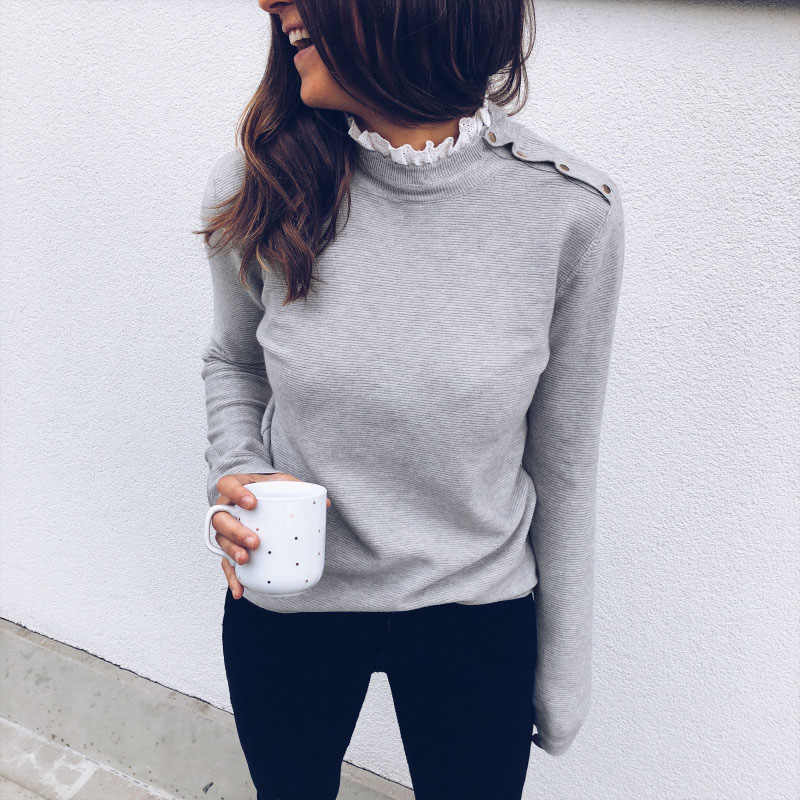 Long Sleeve Shirt Women Cothes Lace O Neck Ruffles Tshirt Shoulder Button Knitted Tops Gray White Tees Casual Shirts Streetwear