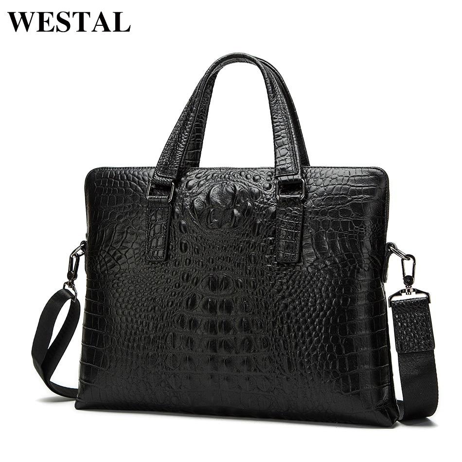 WESTAL Крокодил Дизайн мужские портфели для юриста из натуральной кожи сумка для ноутбука 14 сумка мужская кожаная мужская тотализаторов сумки...
