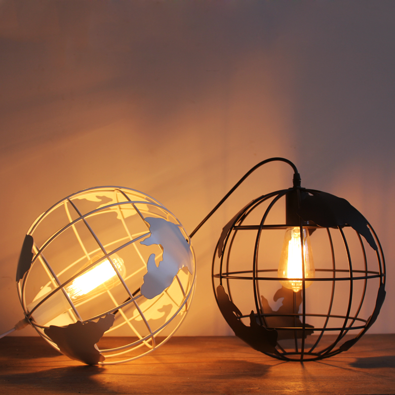Edison Modern Simple Wrought Iron Globe Mold Round Ball Bar Restaurant Cafe Black White Pendant Lamp Bar Coffee Shop a round coffee table made of iron cane outdoor recreation modern simple angle