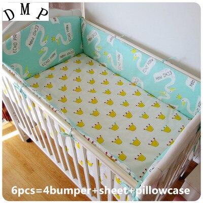 Promotion! 6PCS  Hot Search Baby Crib Bedclothes Set Cotton 100% Cotton Washable (bumper+sheet+pillow cover) hot sale 4 pcs white plastic adjustable sheet grippers bedclothes clips
