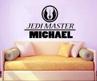 Jedi Master Name Decal Nursery Vinyl Stickers Star Wars Art Play Room Decor