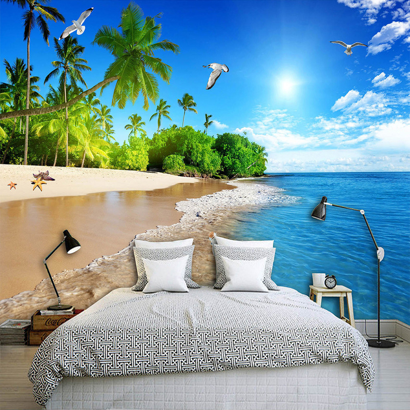 Custom Photo Wallpaper 3D Seaside Landscape Nature Murals Bedroom Living Room TV Sofa Backdrop Wall Painting Papel De Parede 3 D custom papel de parede personality cartoon animals living room sofa tv wall bedroom 3d wall murals wallpaper
