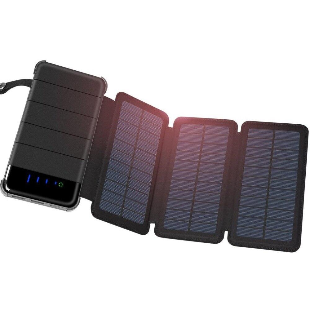 30000 MAH Solar Energienbank Portable Dual USB Solar Panel Externe Batterie Universal Power für Handy mit LED Licht Faltbare