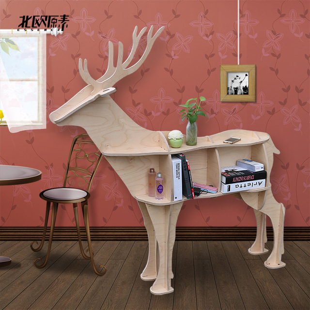 Scandinavian Style Deer Elk Animal Mascot Shelf Console Table Wooden Shelves Exclusive Home Decorations Ornamentshotel Decor