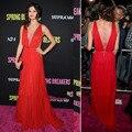 Selena Gomez Agradável Frisada Padrão Tapete Vermelho de Luxo Elegante E Sexy Chiffon Uma Linha de Vestidos de Celebridades