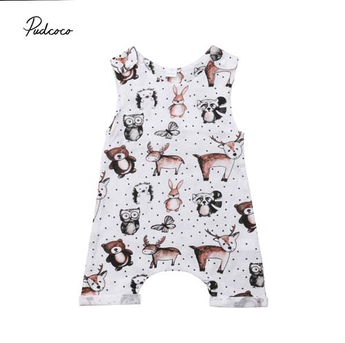 Pudcoco 2018 Baby Kids Boy Girl Infant   Romper   Animal Print Sleeveless Jumpsuit Summer Cotton Clothes Cute Outfits 0-24M