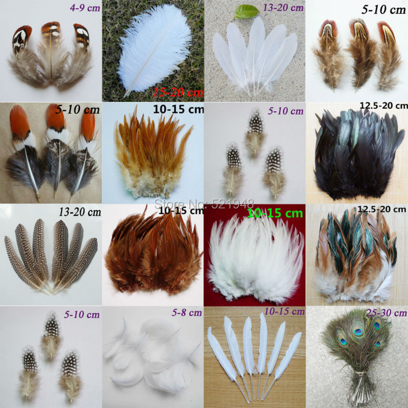 50pcs 15 kinds of Beautiful Rooster feathers goose feathers  pheasant chicken plume for DIY Party Craft decoration