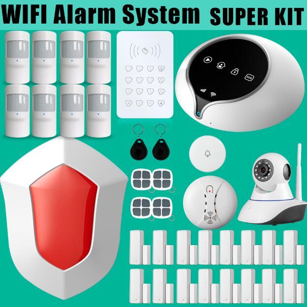 Güvenlik ve Koruma'ten Alarm Sistemi Kitleri'de Wifi gsm alarm sistemi kiti ile APP uzaktan kumanda sensörü ve ip kameralar görünümü gerçek zamanlı video 3G alarm paneli