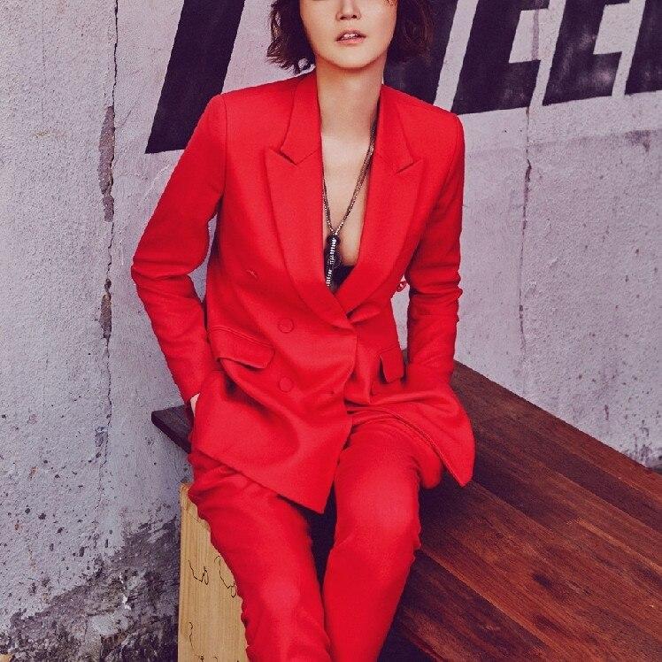 Europa en de Verenigde Staten high end rood kleine pak vrouwen lange mouw jasje kantoor interview werk en leisure twee/set - 2