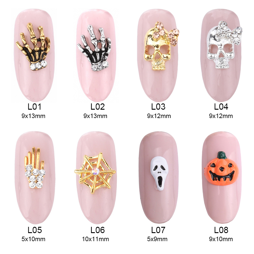 10pcs 3d Nail Art Halloween Decoration Metal Skull Cushaw Charms