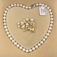 Sinya Natural água doce da pérola redonda beads strand colar Chocker broche conjunto de jóias para As Mulheres Mãe Novos anos de presente de Natal Quente