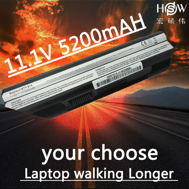 HSW 5200MAH replacement laptop battery for <font><b>MSI</b></font> <font><b>GE620</b></font>,GE620DX,MS-1482MS-16G1 MS-16G4 MS-16G7 FR700 FX700 bateria akku image